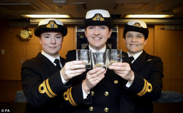 Lieutenants Maxine Stiles, Alexandra Olsson and Penny Thackray (left-right) have made history by becoming the first female submariners to serve in the Royal Navy