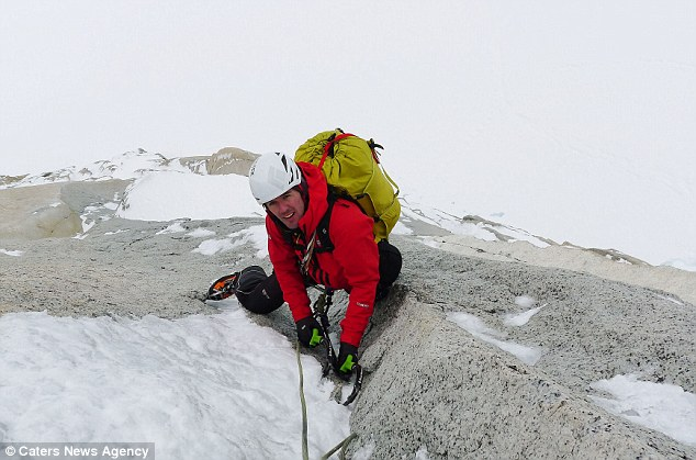 Peak performance: Dave Macleod is pictured during his ascent on Aguja Guillaumet