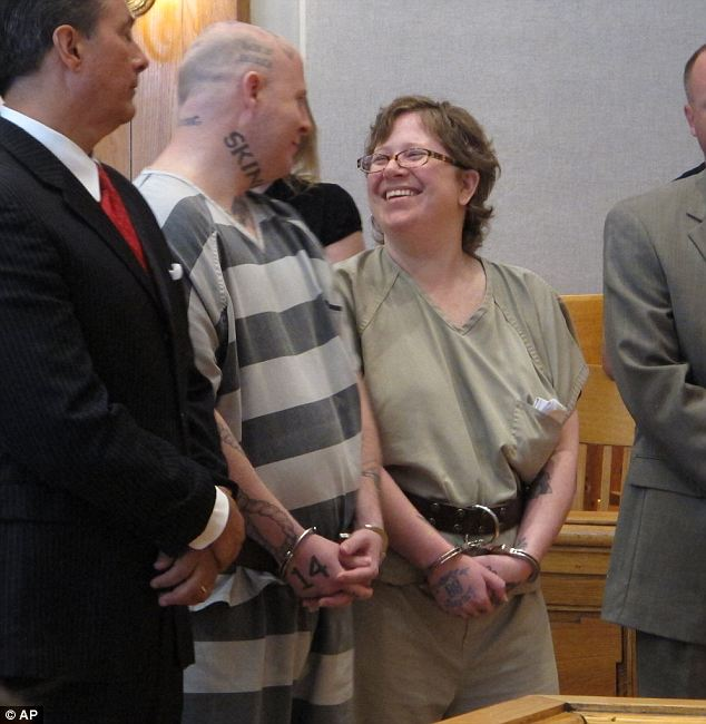 Horrific: Jeremy and Christine Moody (seen in court today) admitted to killing a sex offender and his wife and though they are self-proclaimed 'skinheads' they say that the local white supremacist group that they are affiliated with did not have a role in the murders
