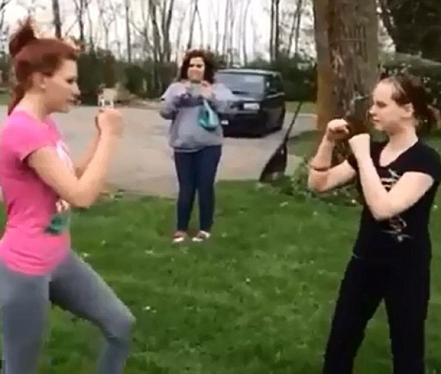 Earlier The Girls Square Up Toward The Start Of Their Multiple Round Fight