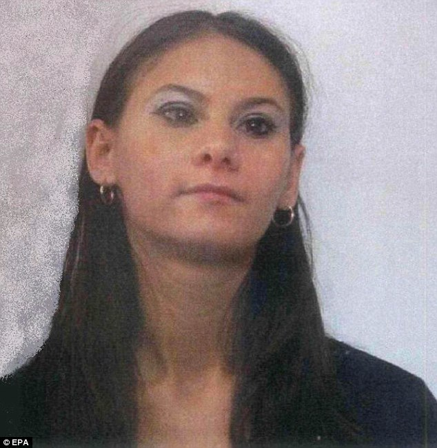 Murdered: Andrea Cristina Zamfir, 26, was found naked and bound with tape to an iron bar in a position similar to crucifixion, beneath a bridge in Ugnano, a village near Florence, Italy
