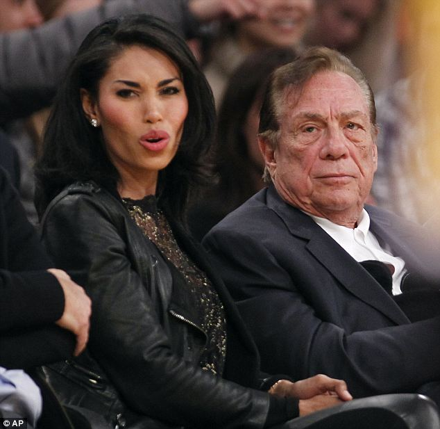 Scandal: Sterling's problems started when a secretly-recorded phone call with his girlfriend V. Stiviano (left) was released and he was heard complaining that she wanted to post photos of herself with Magic Johnson