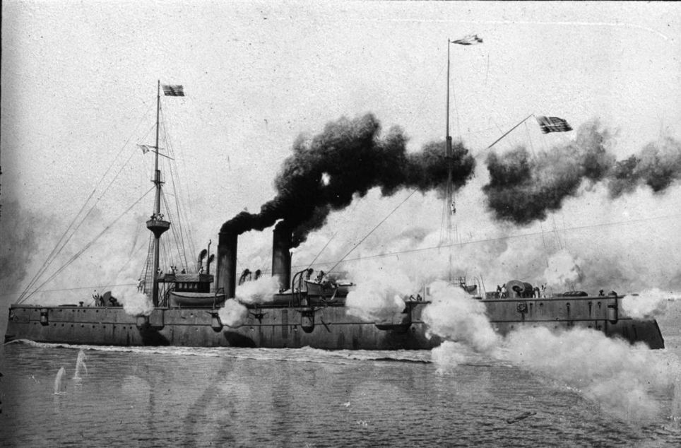 The USS Raleigh in action in 1898.<br /><br /><br /><br /><br /><br /><br /><br /><br /><br /><br /><br /><br /> The cruiser took part in the Battle of Manila Bay/Cavite on May 1, 1898