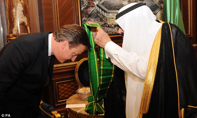 Middle East ally: David Cameron receives a, honour from King Abdullah. Human Rights Watch says Saudi Arabia, a staunch ally of the West in the Middle East, has a long history of suppressing free expression