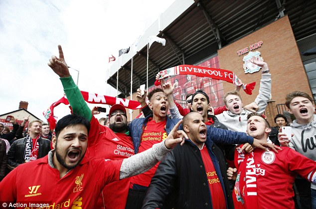 battle cry: The Liverpool fans were in fine voice ahead of facing Newcastle in the final game of the season