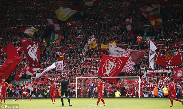 Warm welcome: The home support git right behind their team from the start of Liverpool vs Newcastle