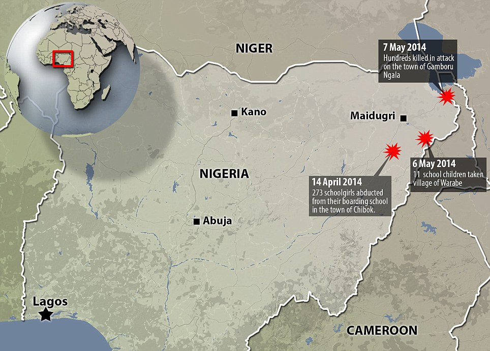 A map showing the recent Boko Haram attacks in Nigeria over the past month