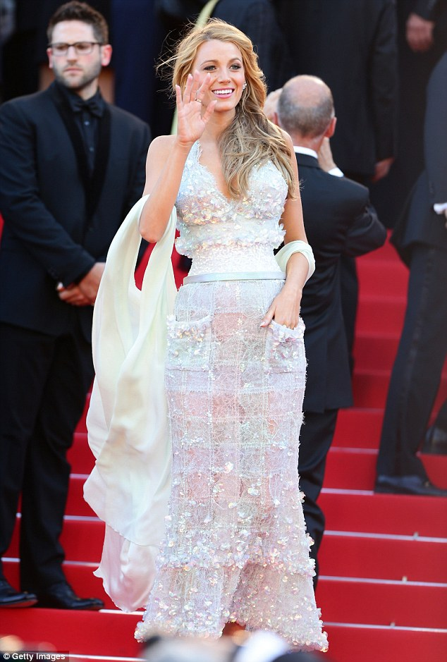 What a dazzler! Blake Lively wows in a sequined Chanel dress at the Mr Turner premiere in Cannes on Thursday evening
