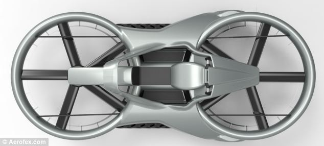 Futuristic: The 21st century Earth version is built primarily of carbon fibre and has two ducted rotors facing the ground (pictured) enabling it to hover. The vehicle has been tested in the desert and consumers should be able to get their hands on it in 2017, according to the California-based firm