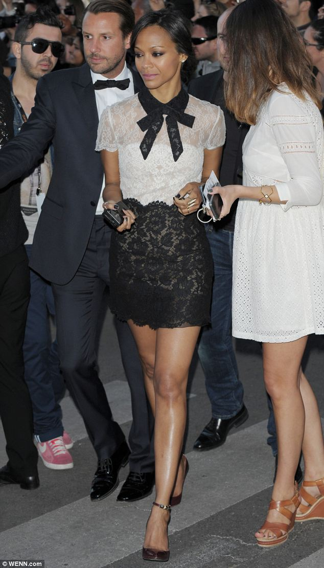 Very chic! Zoe Saldana wows in an intricate lace dress at the Cannes Film 67th Film Festival