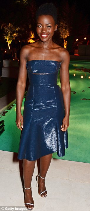Style star: Oscar Winner was flawless in a strapless Calvin Klein dress at a party thrown by the designer at the Cannes Film Festival on Thursday