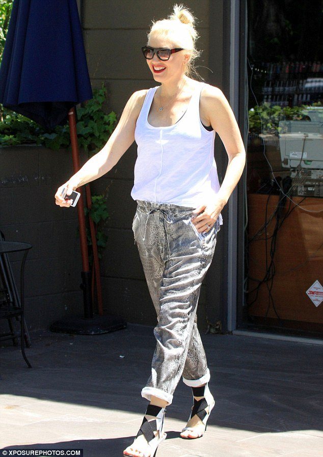 Happy mom: Gwen Stefani spotted out and about in West Hollywood on Thursday