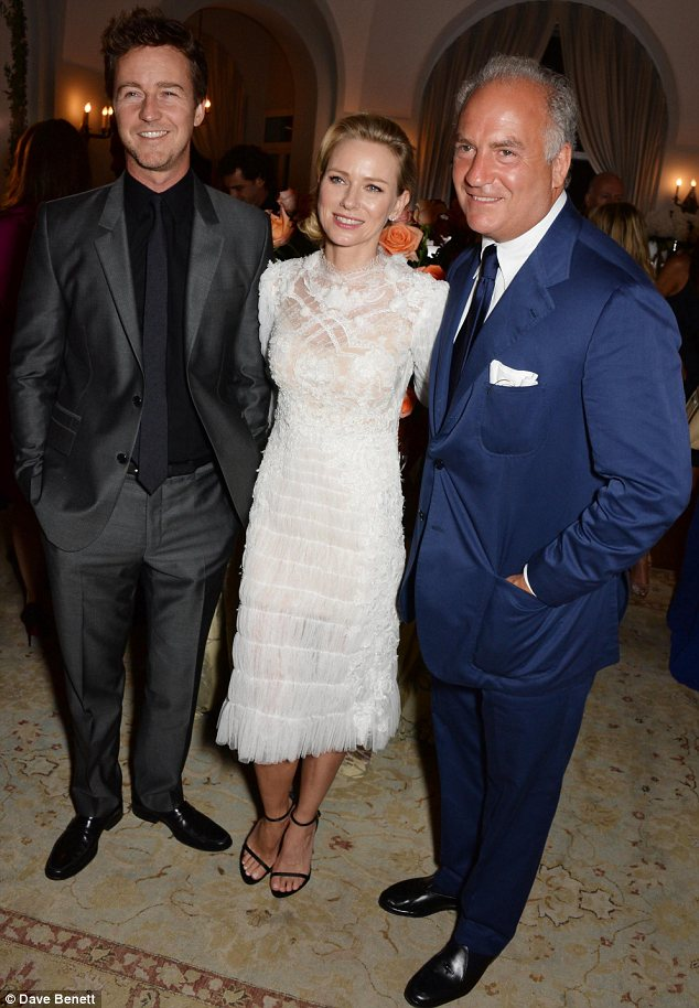 Man of the night: Charles Finch posed with Naomi and actor Edward North at his annual Charles Finch Filmmakers Dinner