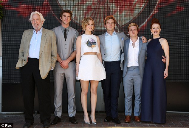 Quite a line-up: (L-R) Donald Sutherland, Liam Hemsworth, Jennifer Lawrence, Sam Claflin, Josh Hutcherson and Julianne Moore