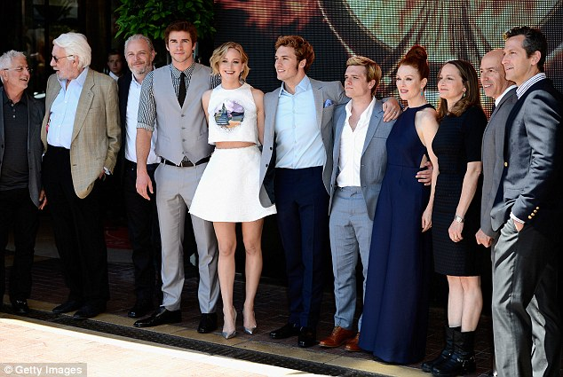 Here they are: The cast and crew line up for a photo on Saturday afternoon