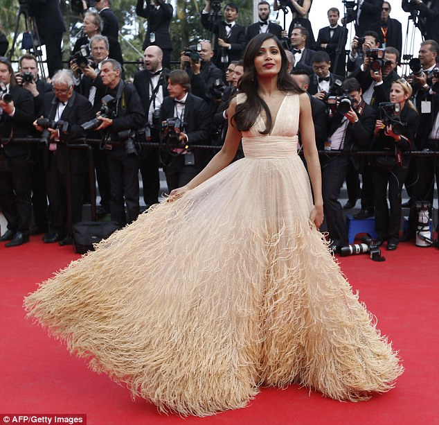 Head turner: Freida Pinto stuns in a  feathered Michael Kors gown at the Saint Laurent premiere