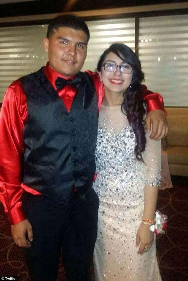 Full of promise: Jacqueline Gomez, pictured with a friend at her prom on Friday, had been preparing for the dance for weeks