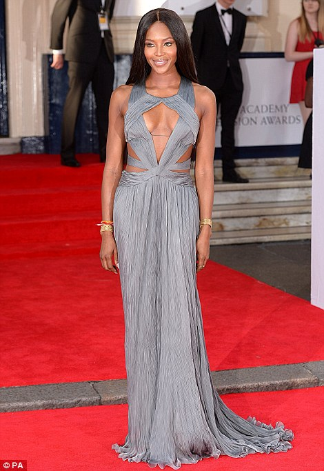 Model behaviour: Naomi Campbell oozed sex appeal in her cutaway grey own while Amber Le Bon sparkled an embroidered number