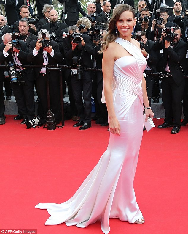 Hilary Swank Dazzles In Bridal Style Gown At Cannes