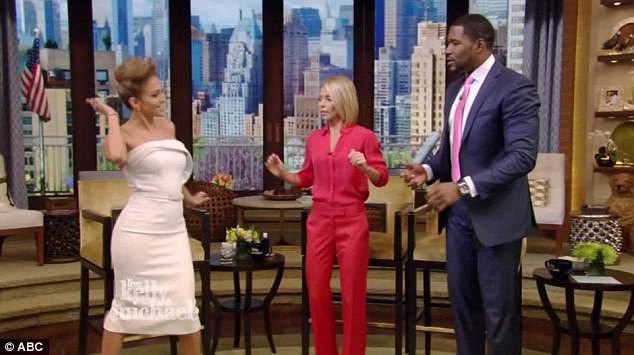 Booty pop: Jennifer showed off her dance moves during the segment while Kelly and Michael tried to follow along