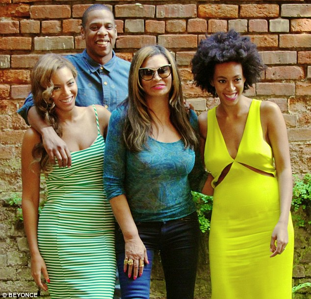 Friends again: Beyonce posted a snapshot of herself, Jay-Z, mother Tina and sister Solange after their lunch in New Orleans on Saturday