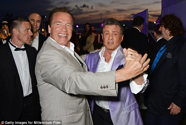Shall we dance? The sculpted actor led the way in a dance alongside actor Sylvester Stallone at an Expendables 3 party at Gotha nightclub in Cannes on Sunday