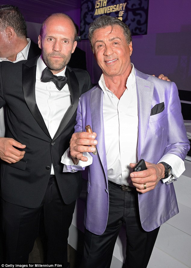 Hey there! The Rocky star lived it up next to Expendables co-star Jason Statham with a cigar