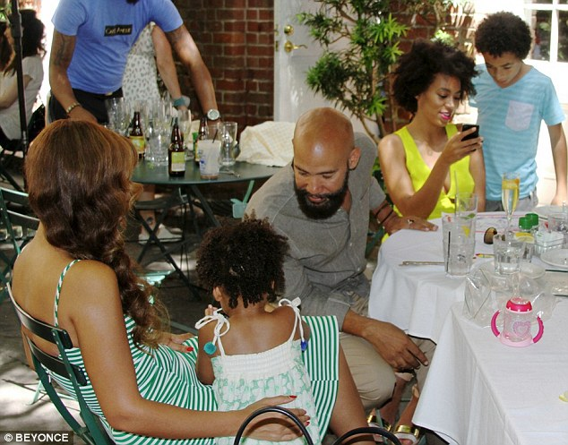 It's a family affair: Beyonce showed an idyllic family scene inside the restaurant