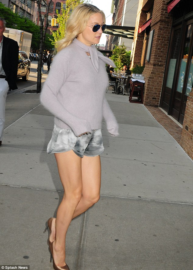 Quick trot: The actress jogged to dinner