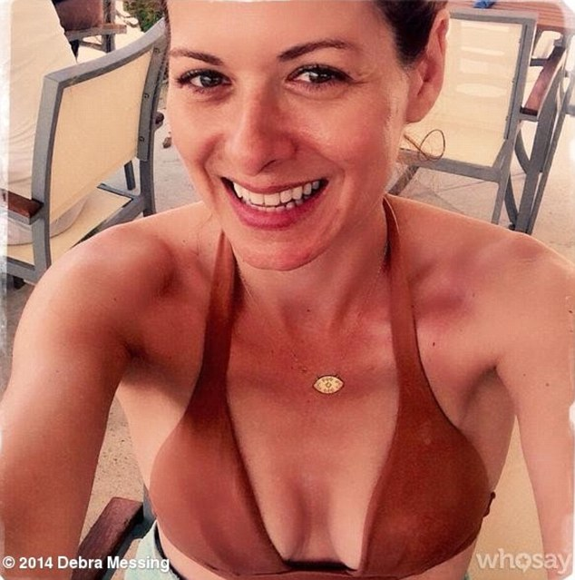 New figure: Debra Messing, 35, reveals her newly slimline bikini body in a sexy selfie after losing 20lbs