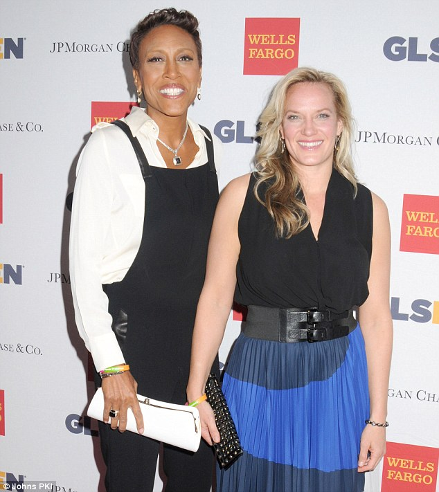 All for a good cause: Robin Roberts and long-term girlfriend Amber Laign made a rare public appearance together on Monday night, lending their support to the GLSEN Respect Awards, which recognise the efforts made to ensure schools are safe for lesbian, gay, bisexual and transgender (LGBT) students