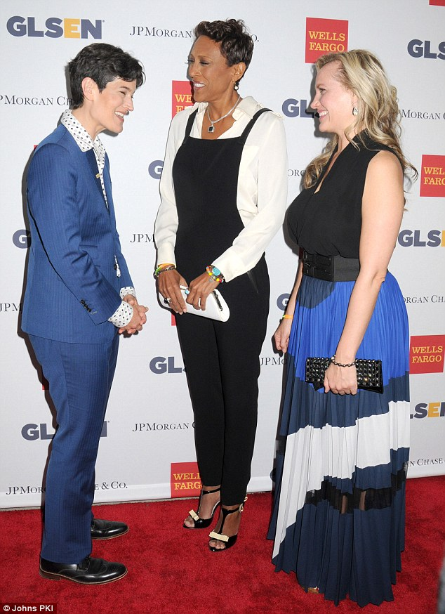 Welcoming committee: The usually very private couple were given a warm welcome by GLSEN (the Gay, Lesbian & Straight Education Network) executive director Dr Eliza Byard before meeting with dozens of courageous LGBT students and their support networks