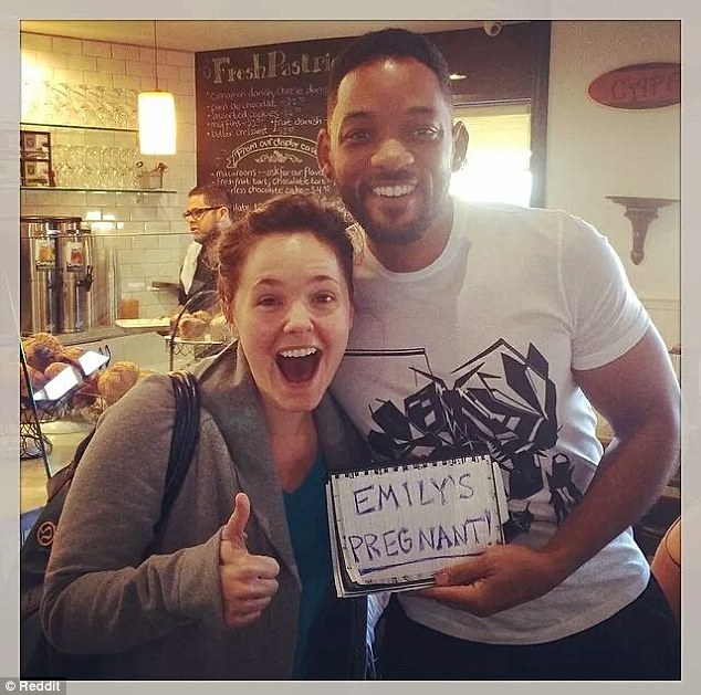 Will Smith Helps Pregnancy Announcement At A Bakery