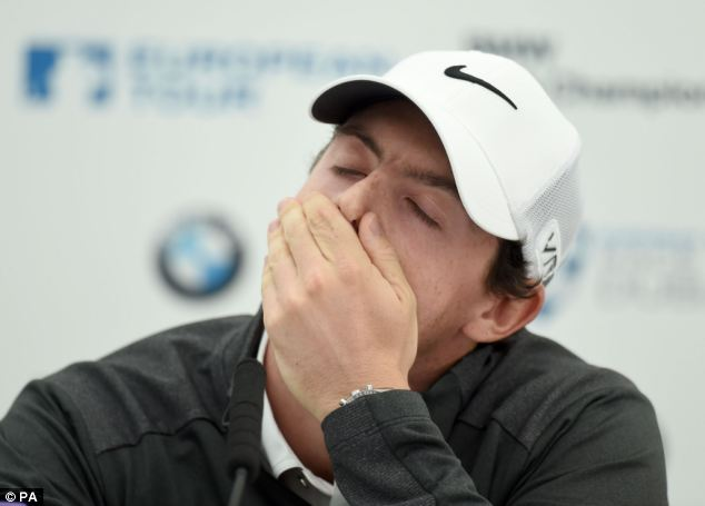 Golfer Rory McIlroy, 25, looked upset at a press conference this morning following the announcement he had broken off his engagement to tennis star Caroline Wozniacki
