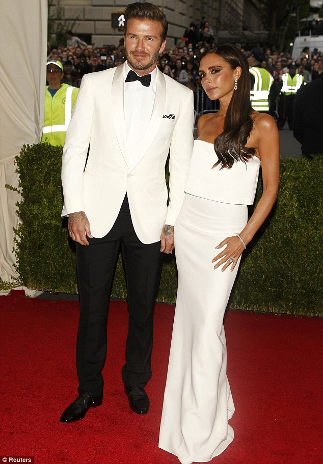 Coordinated: However the couple's most recent outfits faded into insignificance, compared with their matching, all-white attire for the Met Gala in New York