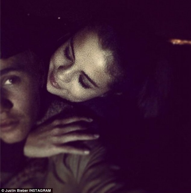 'Love the way you look at me': Rumours of a reunion first surfaced when Justin posted this cosy photo to Instagram on January 4 - though unbeknownst to anyone at the time, Selena checked herself into rehab in Arizona for two weeks that months as she 'took some time for herself'
