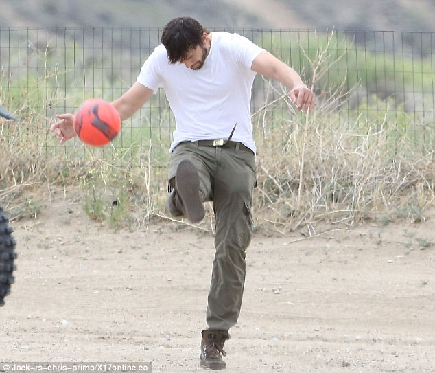 Sporting prowess: The actor was clearly in the mood for some outdoor sporting action