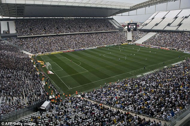Threat: A report this week revealed that child prostitutes were common in the area around the Corinthians stadium in Sao Paulo, pictured