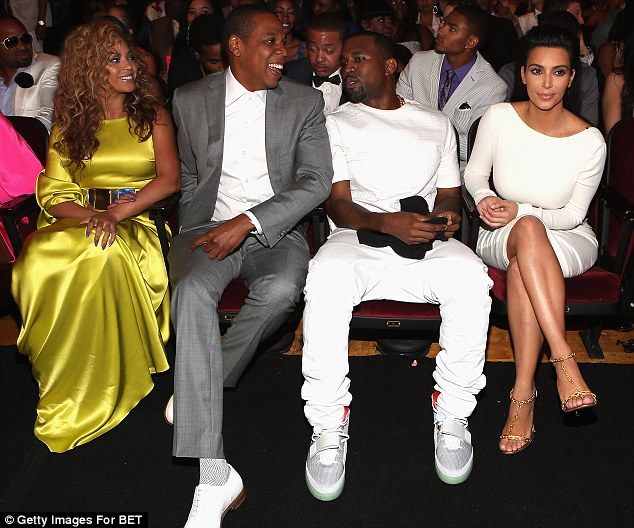 Fab four: Pictured here together  in 2012, Kimye and Jay Z and Beyonce have been close for years