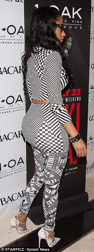 Curves: Nicki showed off her famous derriere in the tight-fitting ensemble