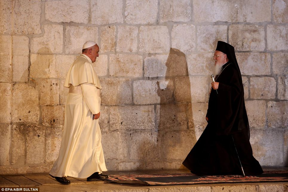 Pope Francis meets with Patriarch Bartholomew I, the Archbishop of Constantinople, at the Church of the Holy Sepulchre before meeting with Christian community leaders in the old city of Jerusalem, Israel