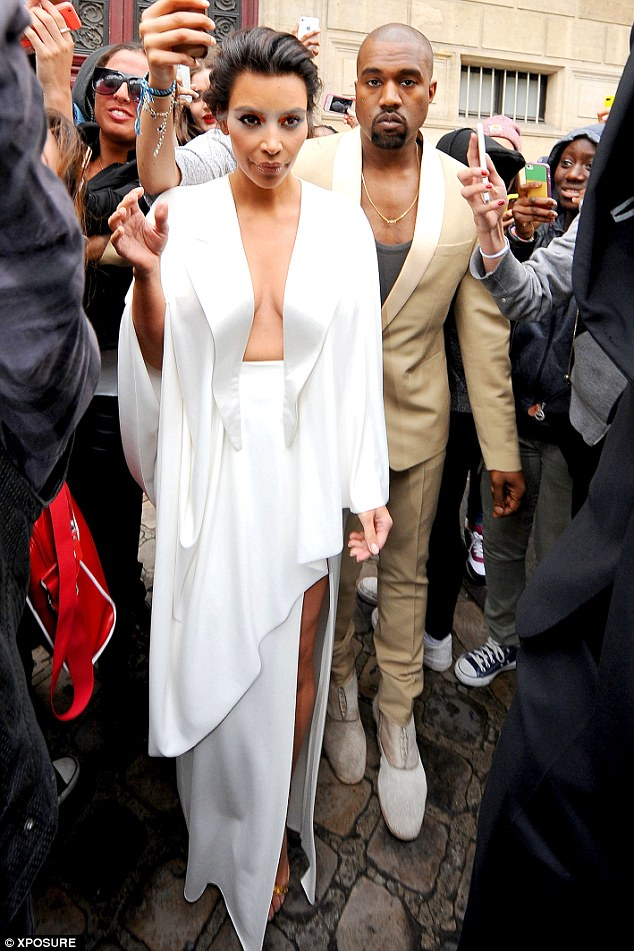 Preparations: Kim and Kanye were seen heading into the Palace of Versailles in Paris one day before their wedding which took place in Florence, Italy