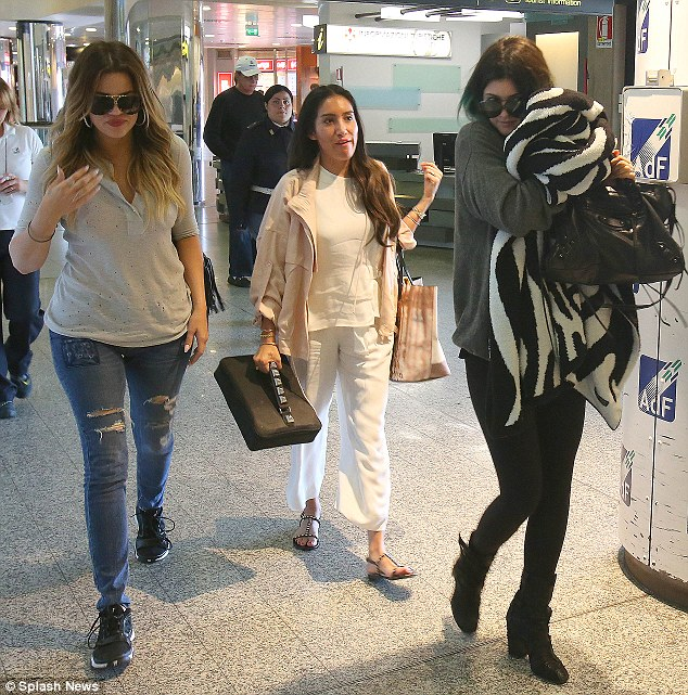 All good things must come to an end: Khloe Kardashian and Kylie Jenner were seen at Firenze airport following the celebrations the night before