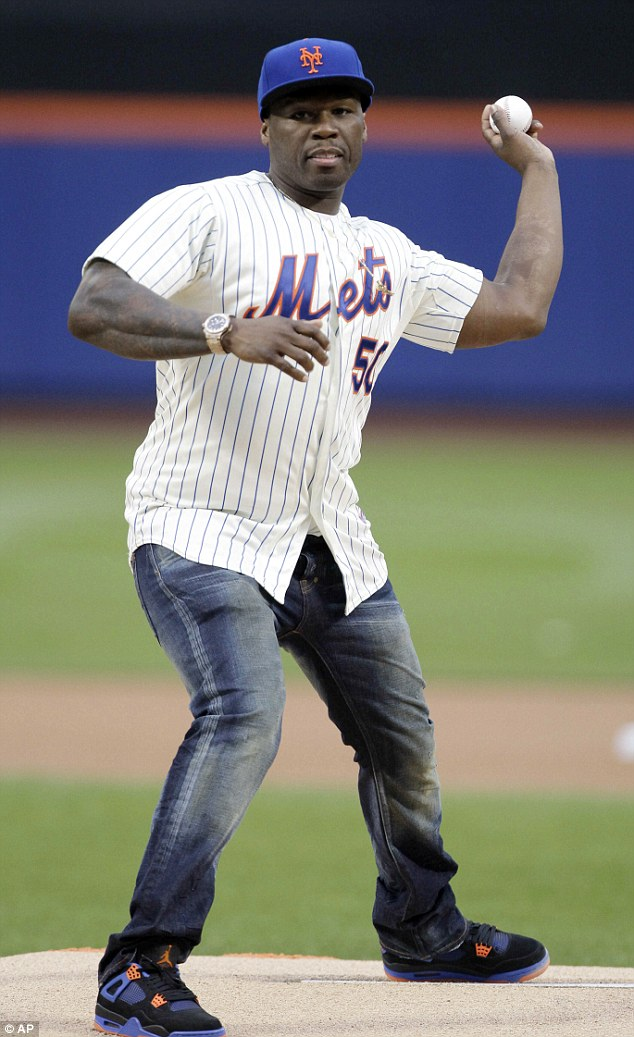 Strikeout! 50 Cent's first pitch before a New York Mets game comically flew wide