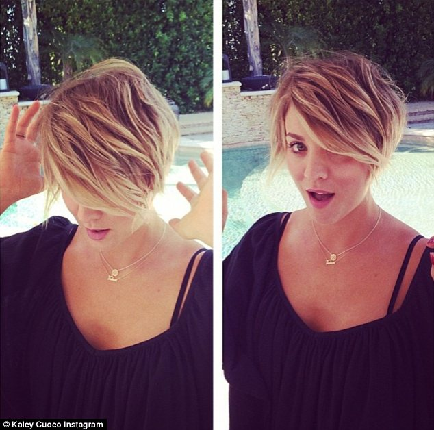 Peter Pan inspiration: Kaley Cuoco debuted her new pixie cut on Saturday
