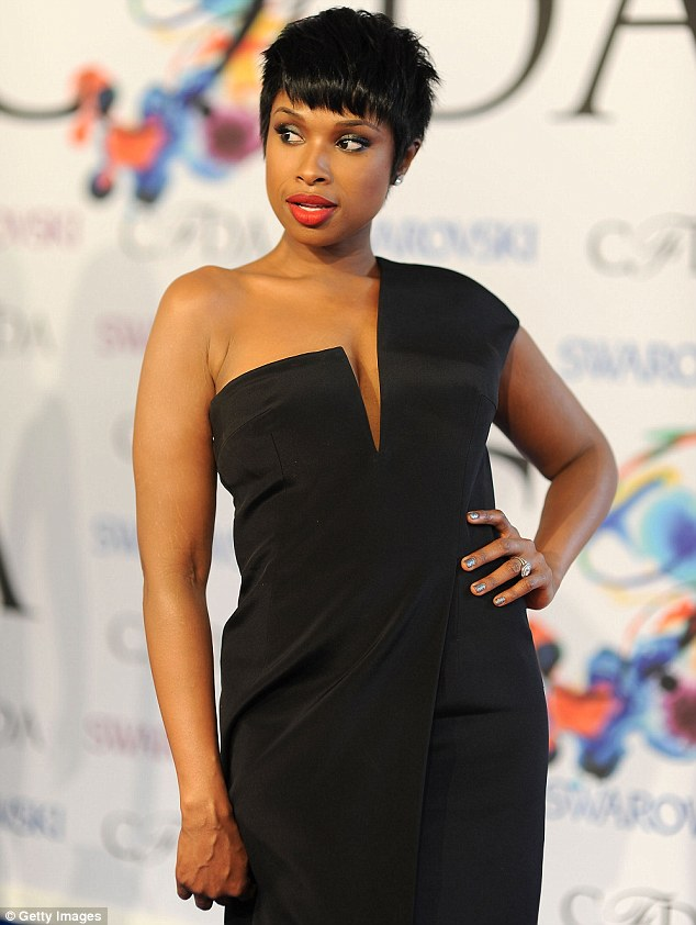 Simple: JHud sported minimal jewellery with her monochrome look