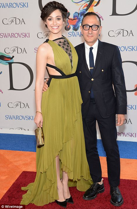 Seal of approval: While Emmy posed with designer Gilles Mendel at the event, Greta Gerwig was accompanied by Zac Posen