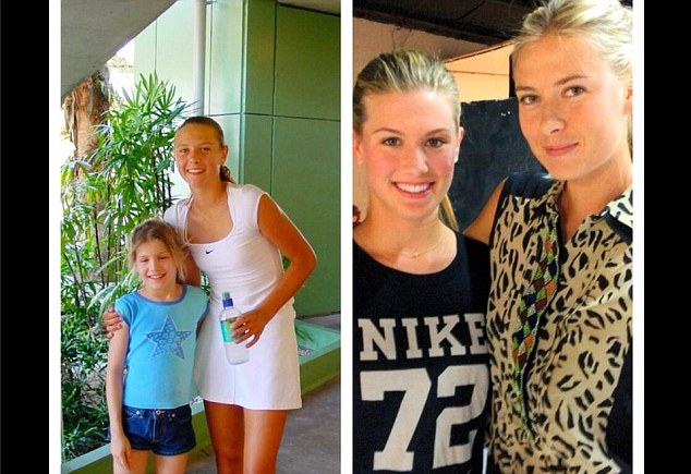 Past and present: Eugenie Bouchard was pictured with her 'idol' Maria Sharapova aged 7 (L)