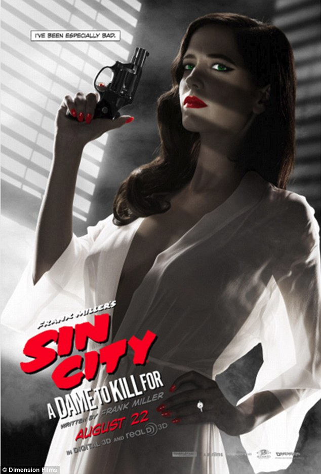 An almost imperceptible change: After the original Eva Green poster for Sin City: A Dame To Kill For was deemed too risqué by the MPAA, her white robe was made a little 'less sheer' to appease the ratings board