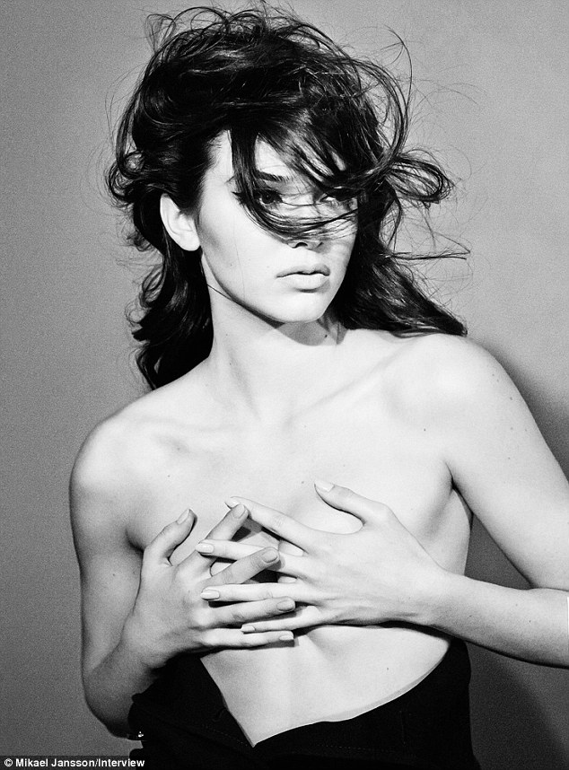 Very revealing: Kendall Jenner has posed topless in a new photo shoot for Interview magazine